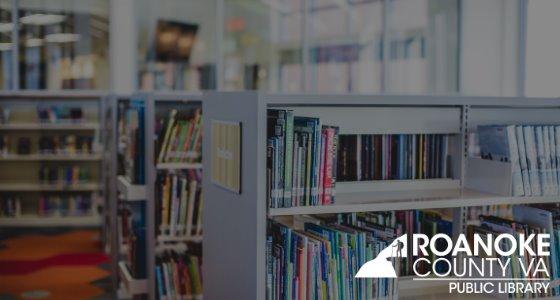 Newsletter Banner of Vinton Library Interior with Logo in Corner