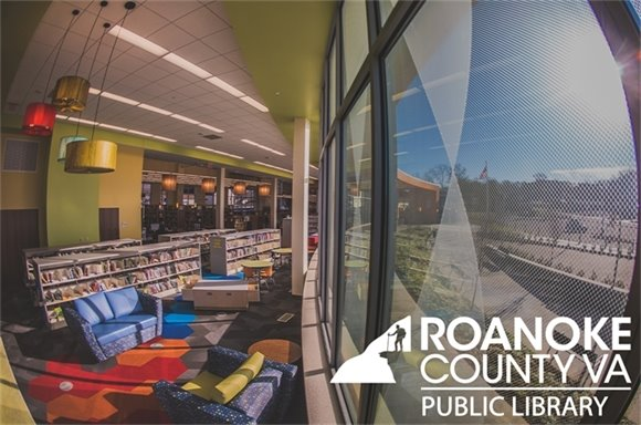 Newsletter Banner of Vinton Library Interior with Logo in Corner