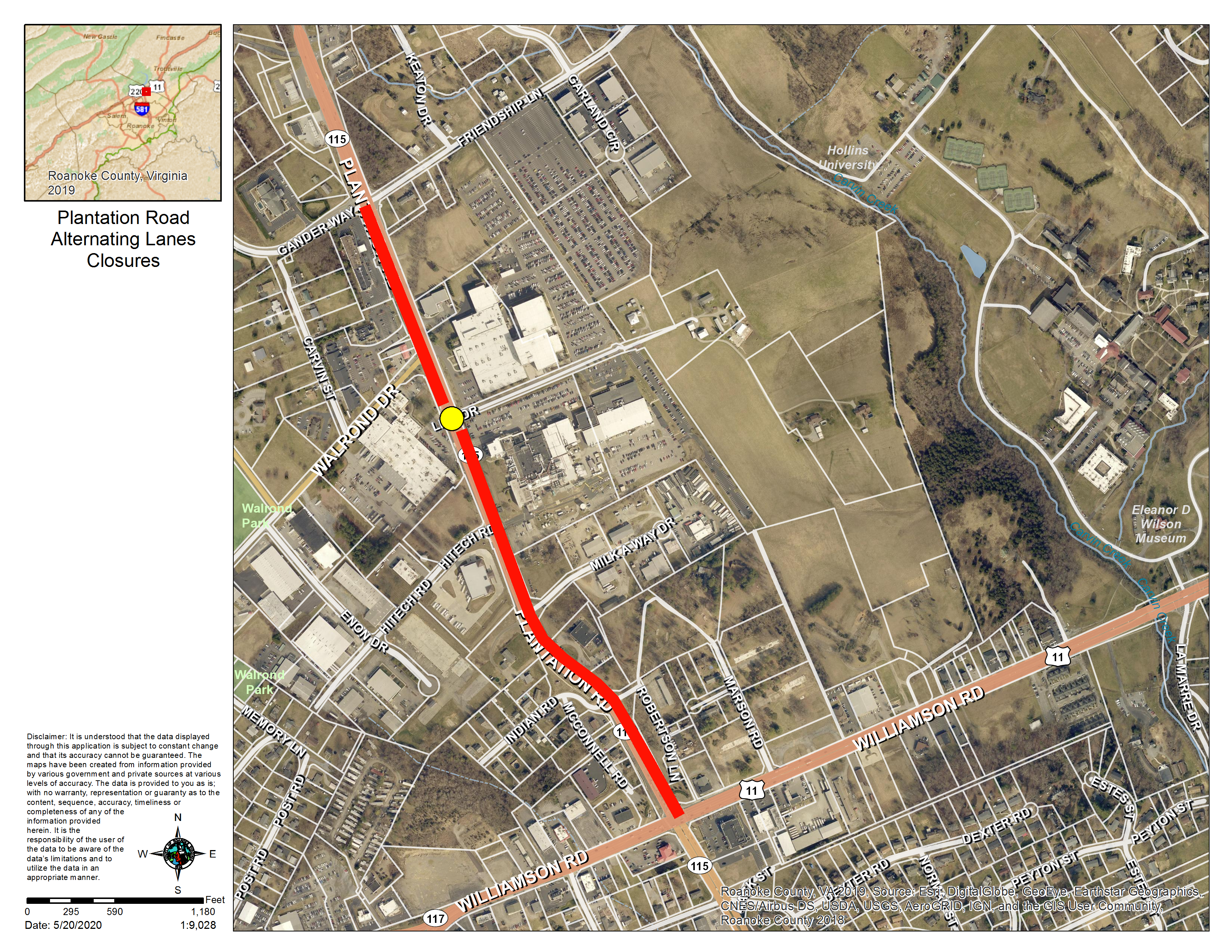 Plantation road alternating lane closure map