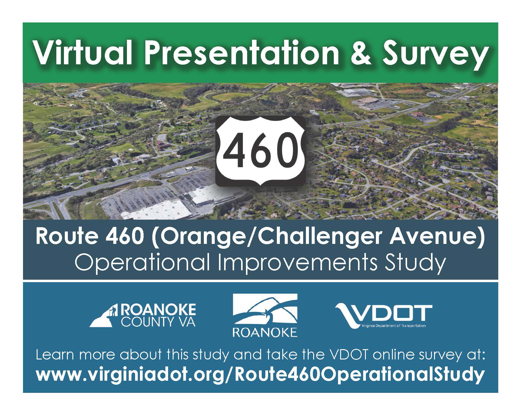 Route 460 Virtual Presentation and Survey Postcard Front