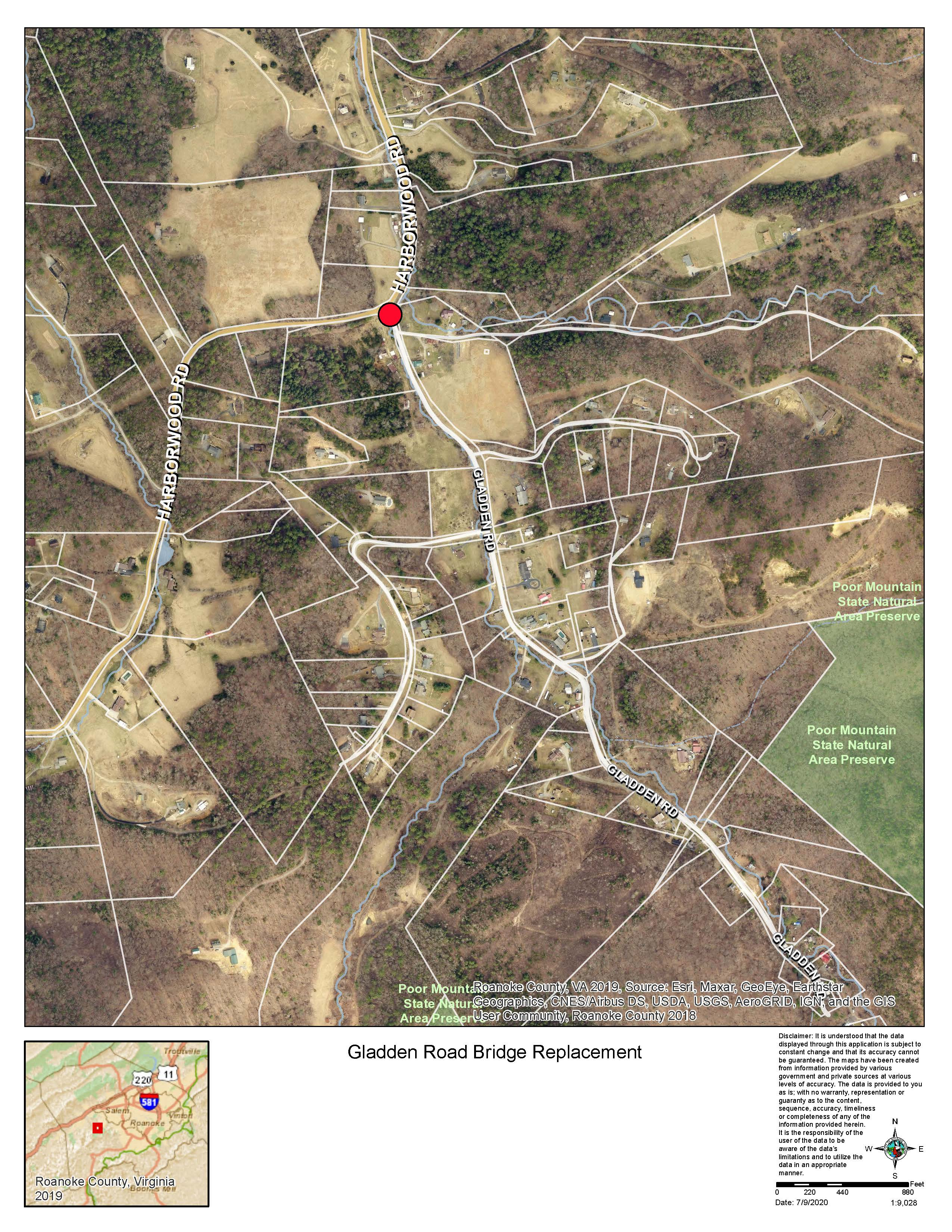 Gladden Rd Closure Map 7/9/2020