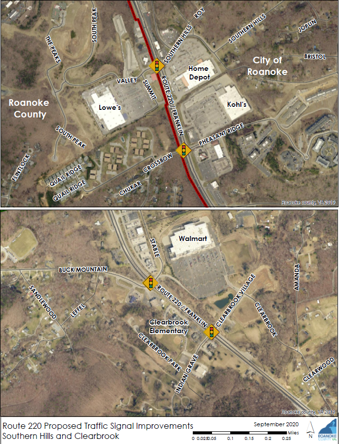 Route 220 Traffic Signal Improvements Map