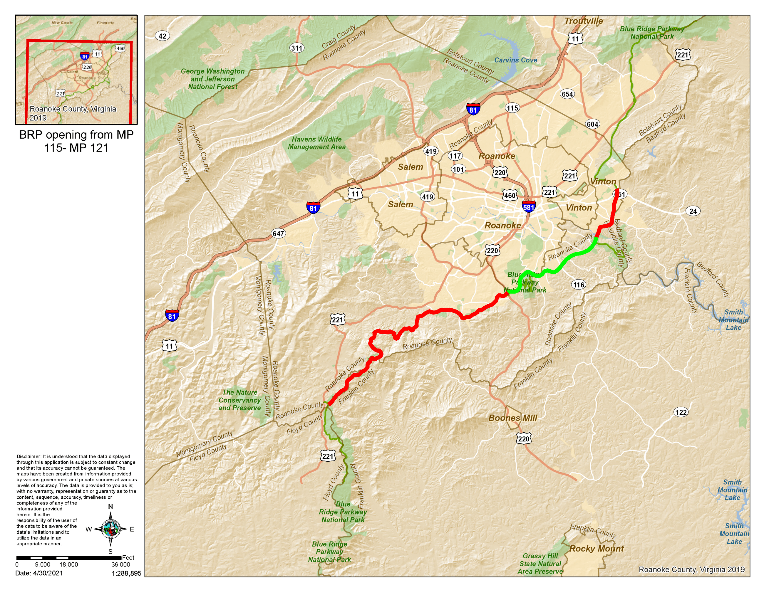 Blue Ridge Parkway Closure Map