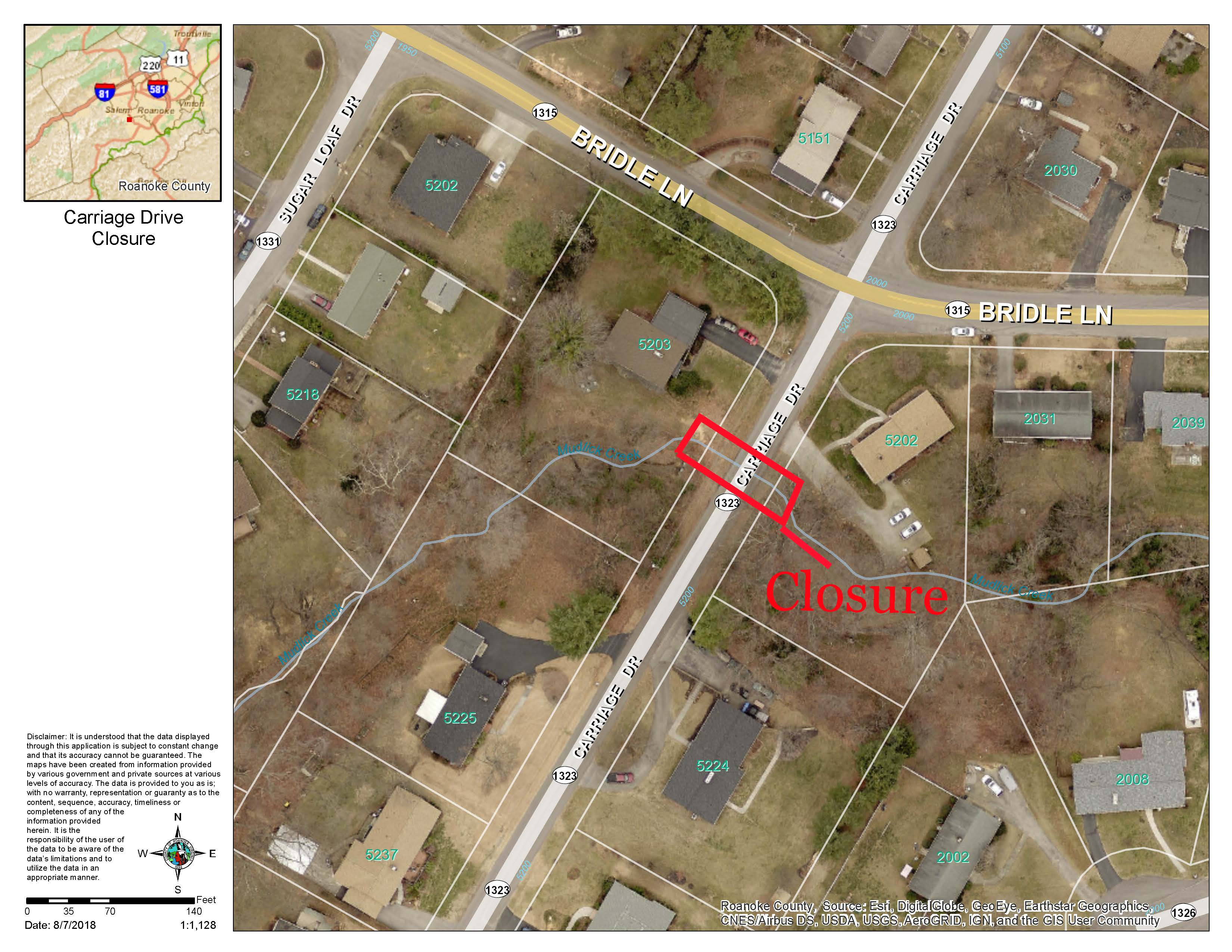Carriage Drive (Route 1323) Closure