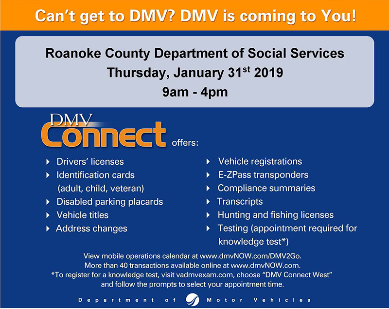 DMV Connect at DSS January 31, 2019
