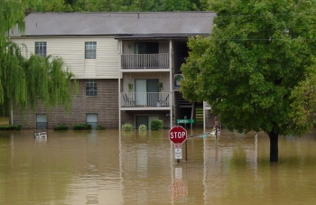 Flooded apartment complex
